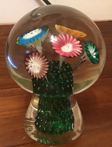 "Footed ""doorknob"" blown glass paperweight with flowers"