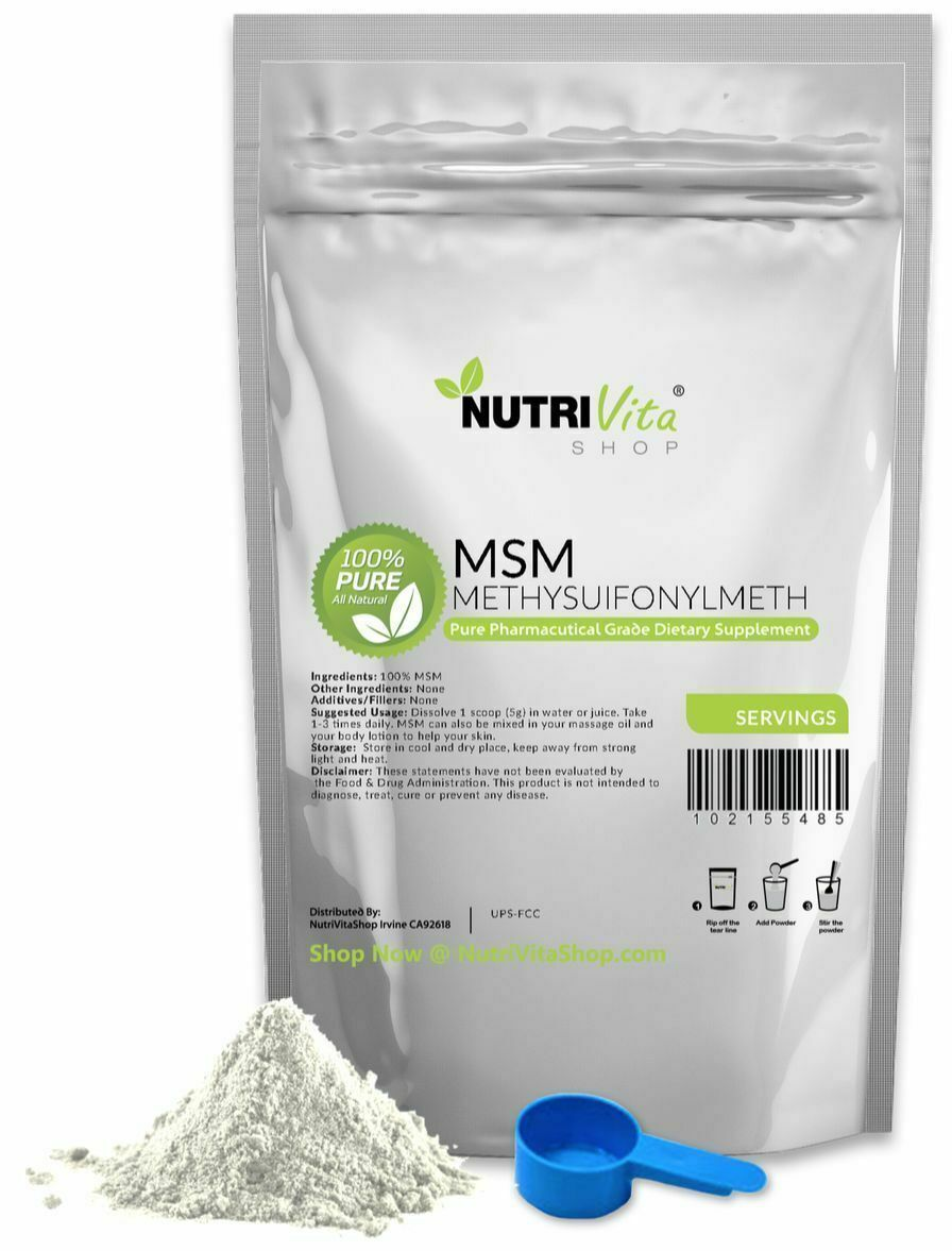 100% PURE MSM POWDER - JOINT PAIN & ARTHRITIS RELIEF PHARMACEUTICAL VEGAN NONGMO