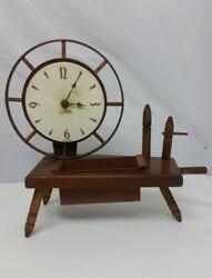 Vintage Wood Spartus Quartz Clock Desk Table Decorative Working Handmade