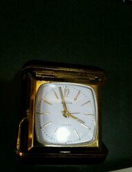 Antique Vintage Working Europa 2 Jewels Travel Alarm Clock Black Case Gold Blue