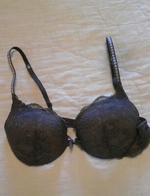 VICTORIA'S SECRET BRA  ANGELS LINE DARK GRAY AND LACE SIZE 34B LINGERIE BRAZIER