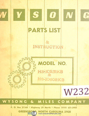 Wysong Hs-1052rkb And 060 Shear Parts And Instruction Manual