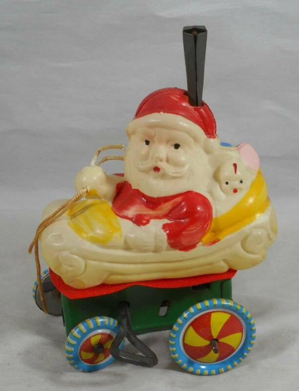 Vintage Wind Up Celluloid Santa Claus Toy Christmas