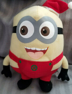 Despicable Me Minion Dave in Christmas/Santa Outfit w/Hat Plush 9