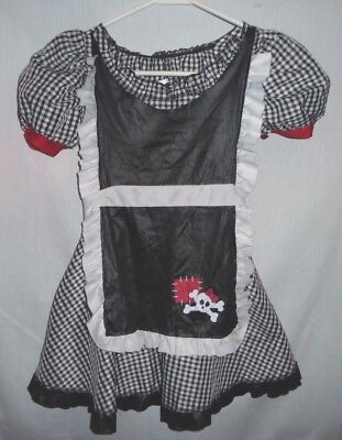 Spirit Halloween French Maid skull & bones dress costume Girls Size 7-8