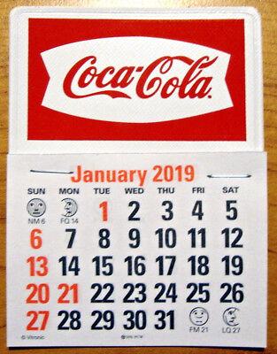 2019 Coca-Cola Fishtail Peel & Stick White W/ Red Script Dash Calendar TAX FREE