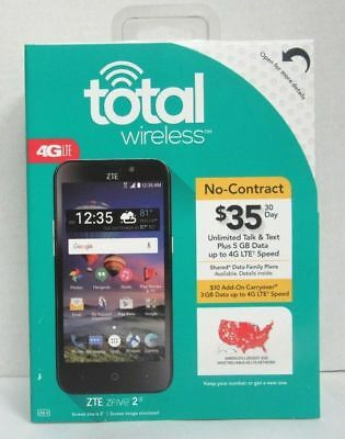 BRAND NEW - ZTE Z837VL 4G LTE, 8GB MEMORY, PREPAID CELL PHONE (TOTAL WIRELESS)