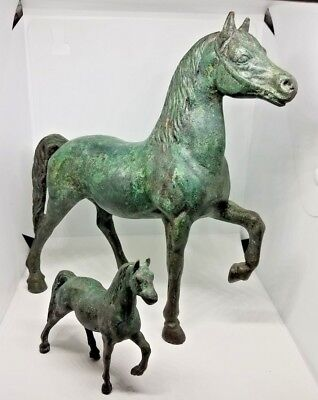 "AWESOME RUNNING BRONZE HORSE GREAT PATINA 9"" x 9"" Long BEAUTIFUL, HEAVY +"