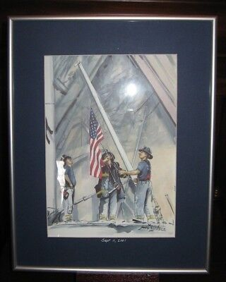 September 11th 9/11 Framed Art Firefighters C.F.D. 14X11 Signed Watercolor