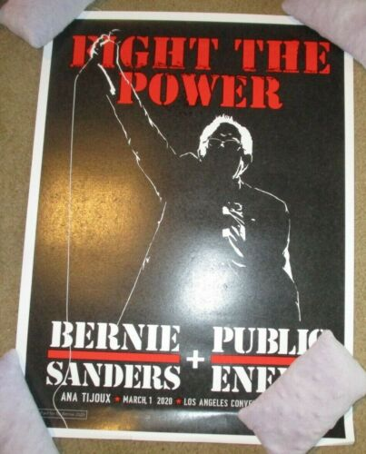BERNIE SANDERS Public Enemy 3-1-20 2020 Campaign POSTER Los Angeles Primary DING