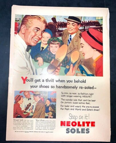 Life Magazine Ad NEOLITE SOLES 1952 Ad PYREX Ware