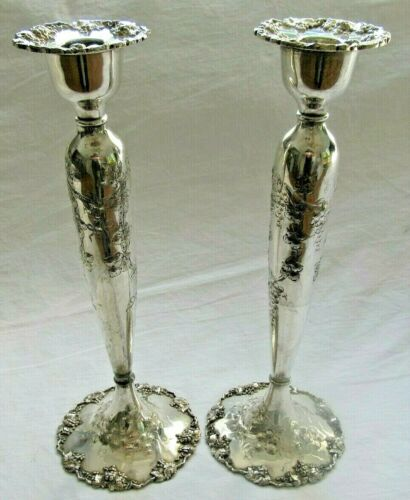 PAIR Barbour Silver Co. Silver Plated Repousse Ivy & Grape Pattern Candle Holder