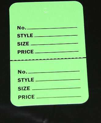 300 Green 2.75x1.75 Large Perforated Unstrung Price Consignment Store Tags