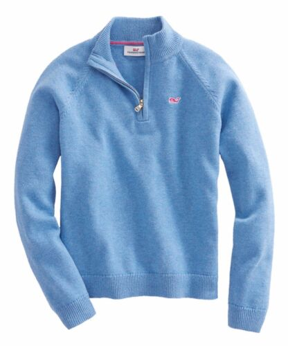 Vineyard Vines Girls L/S Tide Blue 1/4 Zip Solid Pullover Sweater
