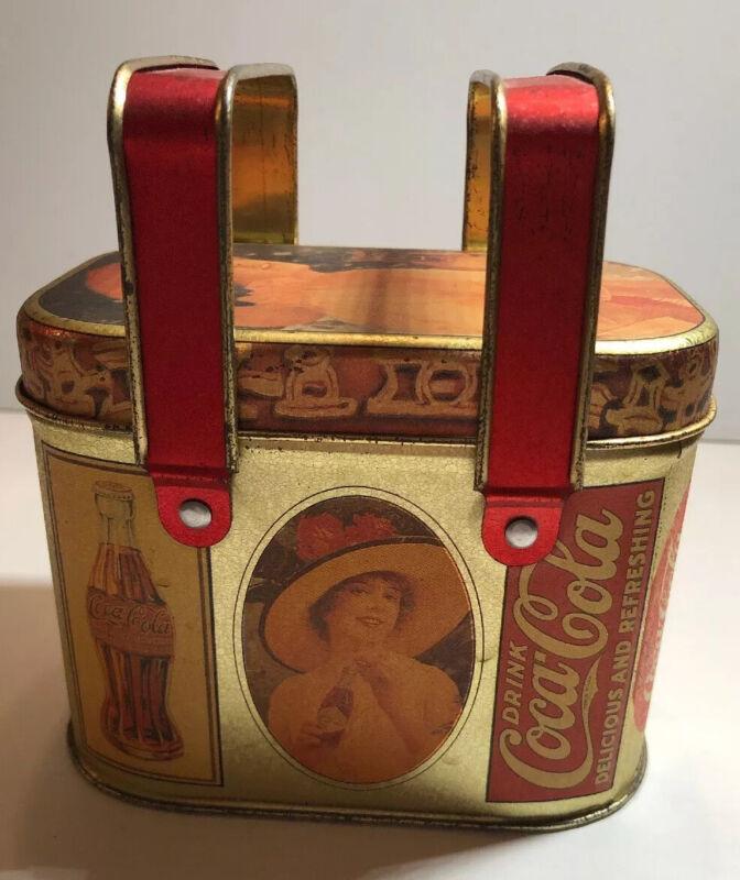 Vintage 1988 Bristol Ware Coca Cola Coke Metal Tin Container Great Patina