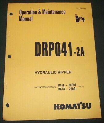Komatsu Drp041-2a D41a D41e Ripper Operation Maintenance Book Manual 20001-up