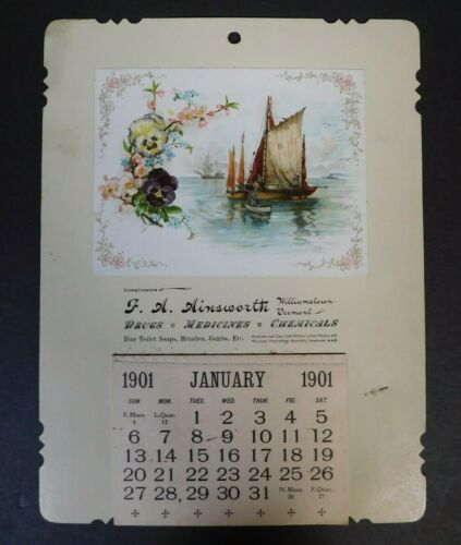 F.A. Ainsworth 1901 Calendar Drugs Medicines Chemicals Williamstown Vermont NOS