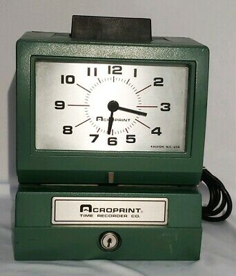 Acroprint Model 125qr4 Analog Manual Print Time Clock With Month Day No Key