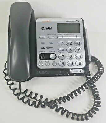 AT&T Dect 6.0 Corded Phone Digital Answering CL84209 System Black Silver