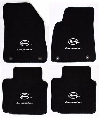 NEW BLACK Floor Mats 2014 2017 Chevy Impala Embroidered Running Logo Silver All