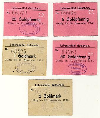 NOTGELD Pirmasens - LEBENSMITTELGUTSCHEINE 5 Goldpf. bis 2 Goldmark - ANSEHEN