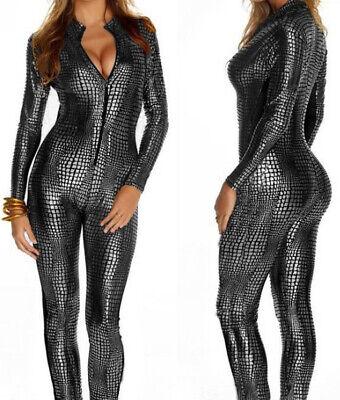 M-XXL Sexy Langarm Frauen Leder Body Zipper Catwoman Cosplay Kostüm - Catwoman Kostüm Frauen