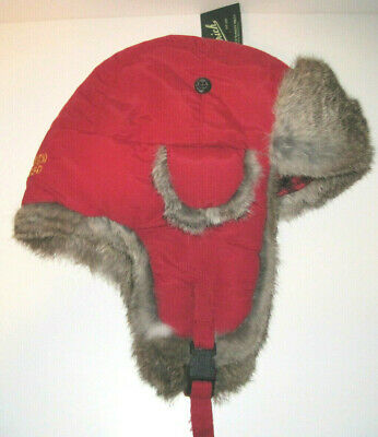 WOOLRICH Nylon & RABBIT FUR BOMBER AVIATOR TRAPPER HAT Large red NEW