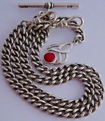 Superb antique solid silver double pocket watch albert chain, silver & coral fob