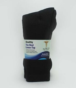 12 PAIR DIABETIC & CIRCULATORY SOCKS - HEALTH LOOSE FIT CREW COTTON