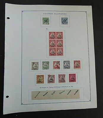 GERMAN COLONIES - FINE COLLECTION OF EARLY FOURNIER FORGERIES ON ORIGINAL PAGE