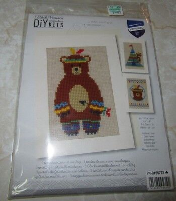 Diy Teepee (DIY Kits Counted Cross Stitch Bear Teepee Featers Card Envelope Vervaco Gift)
