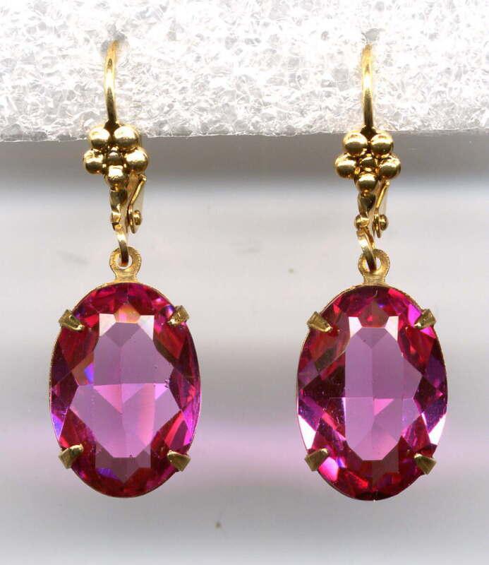 BEAUTIFUL ANTIQUE ROSE PINK oval cut-crystal Earrings 14K Gold gp *Vintage Czech