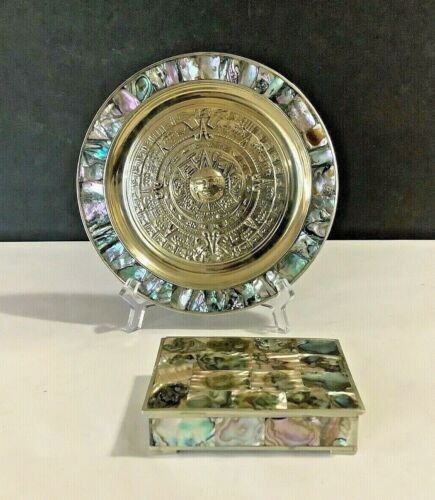 """Pair Vintage Abalone Mother Pearl Mexican Aztec Calendar 7"""" Plate & Trinket Box"""