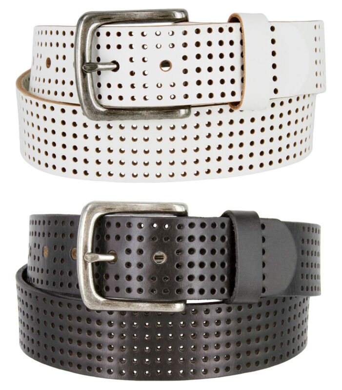 """Par 3 - Perforated 100% Leather Casual Mens Golf Belt, 1-1/2"""" Wide"""