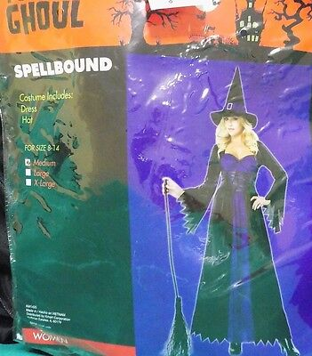 NEW Womens Spellbound Witch Costume Long Dress Purple Black Large 10 12 - Spellbound Witch Costume