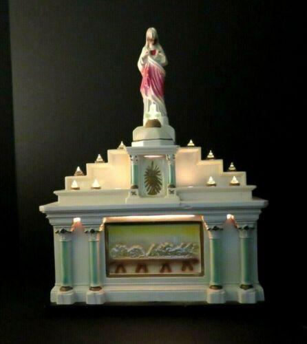 Last Supper Noma Glolite Chalkware Altar Light Shrine with Jesus and Cross