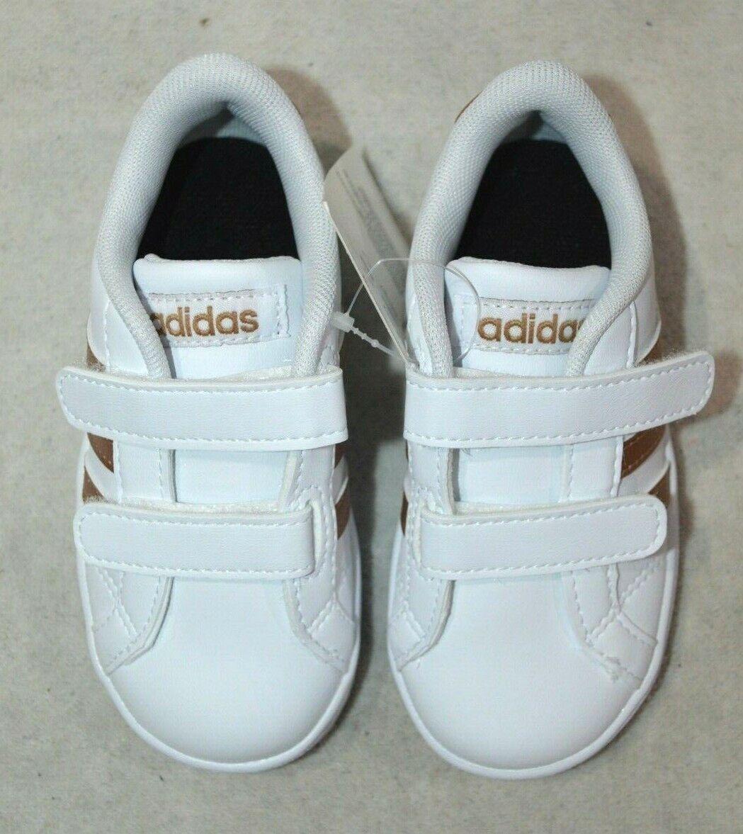 adidas Baseline CMF INF White/Copper Girl's Toddler Sneaker-7/8/9/10K NWB DB2755 1