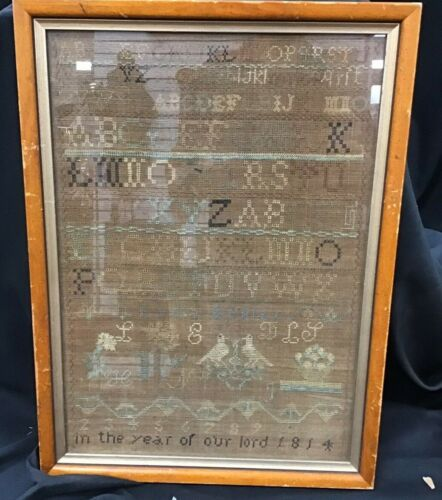 "Antique 1814 Needlepoint Sampler 14"" By 18"" Framed Under Glass"