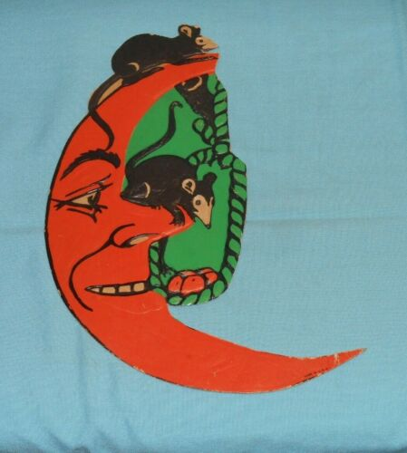 vintage Halloween MICE AND NOOSE ON CRESCENT MOON embossed decoration cutout