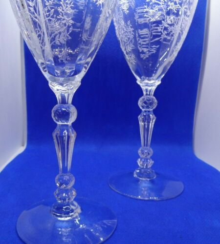 THREE ANTIQUE Wine Water Glass Goblet HAND ETCHED CRYSTAL STEM  8 inch Tall.