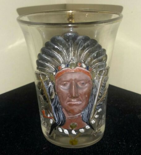 TI-026 Shriners Convention Handled Glass Syria Lodge Saratoga Indian Design