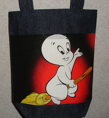 NEW Small Denim Halloween Tote Bag Handmade/w Casper Ghost Big Broom Fabric (Halloween Broom Bags)