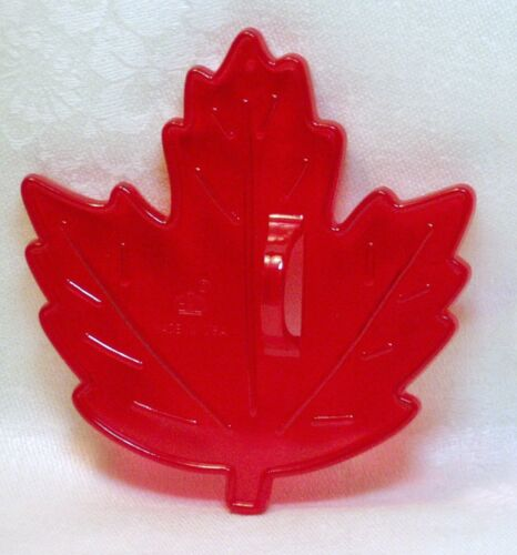 Vintage HRM Design Red Plastic Cookie Cutter - Maple Leaf Fall Autumn Nature