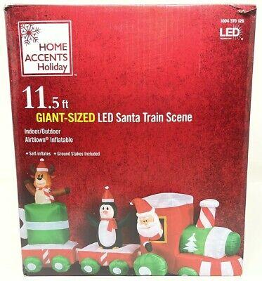 11.5 ft Giant-Sized LED Santa Penguin Train Scene Airblown Christmas Inflatable
