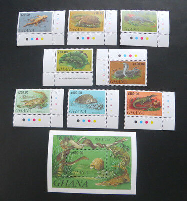 Reptilien 1992, Mi.Nr. 1606/13 und Block 183 postfrisch (P0749)
