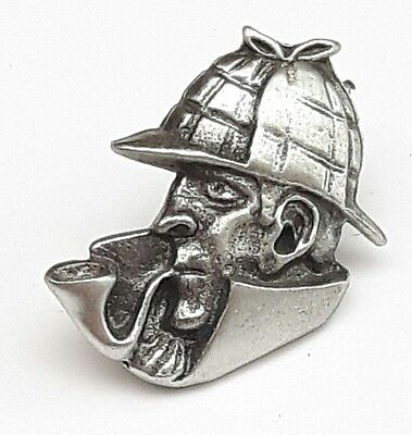 Sherlock Holmes Handcrafted From English Pewter Lapel Pin Badge + Gift Bag