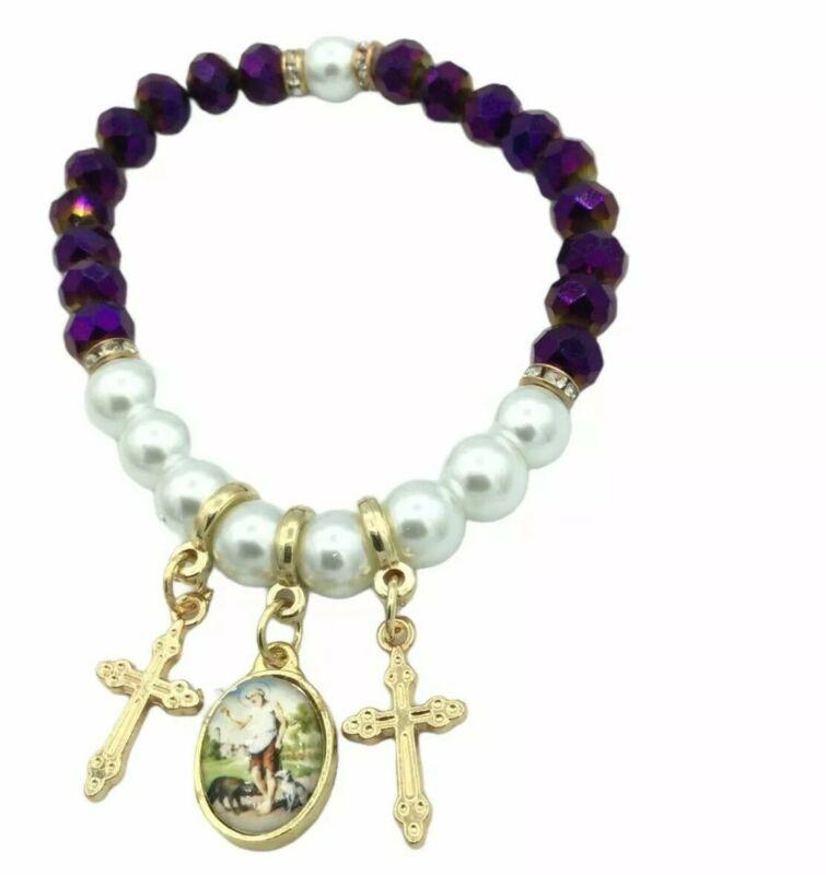 Saint Lazarus Medal Bracelet Purple Glass Beads Pearl Pulsera de San Lazaro Cruz