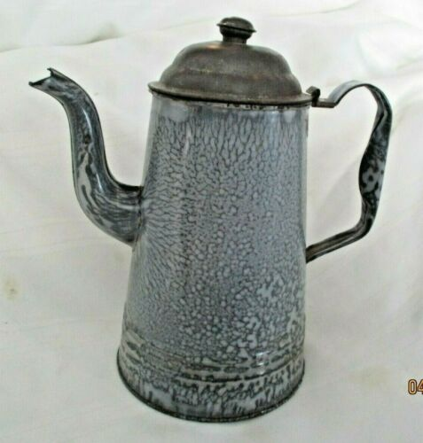 Vintage Gooseneck Graniteware Coffee/Tea Pot Gray Mottled Enamel/Tin lid
