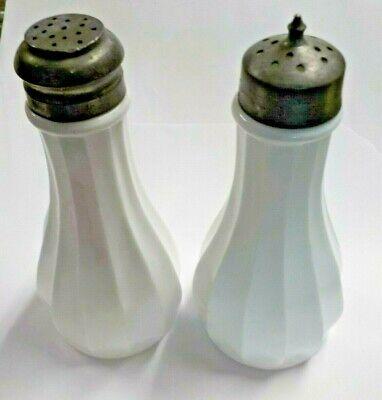 Serveware Pressed Milk Glass Vintage Milk Glass Brass Lids Vintage Kitchen Vintage Milk Glass Salt and Pepper Shakers