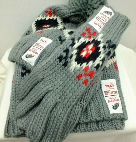 Detroit Red Wings NHL Hockey - Scarf warmer - Gloves & knit Beanie, 3 piece set